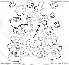 outline clipart of a cartoon black and white christmas tree