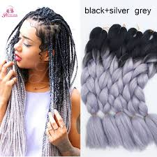 grey and purple combined together style box breads 24inch 100g ombre braiding hair gray expression braiding hair green