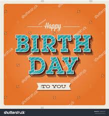 happy birthday card retro vintage typography stock vector