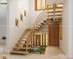 under stair design wooden stair kitchen and living kerala home