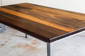 buy a handmade modern brazilian imbuia dining table with raw steel