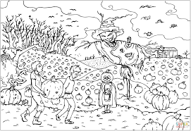 halloween scarecrow jack o u0027 lantern on a pumpkin field coloring