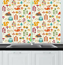 Owl Drapes Amazon Com Cartoon Kitchen Curtains By Ambesonne Cute Baby Fox