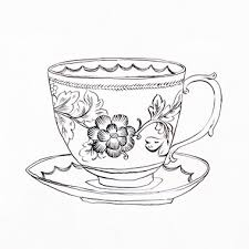 drawn teacup cup plate pencil and in color drawn teacup cup plate