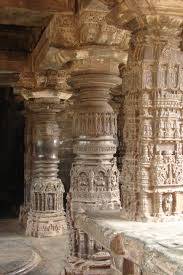 full and half gadag style pillars at sarasvati temple in gadag