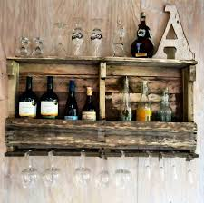 Rustic House Homemade Wine Rack Made From Wood Pallet With Glass Holder For