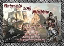 assassin u0027s creed birthday invitations kustom kreations