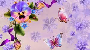 flower ribbons butterflies flowers lavender pansies perfect