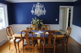blue dining room chairs dining room navy blue walls with a chair rail and white bottom