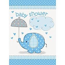blue elephant boy baby shower invitations 8ct