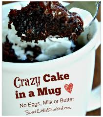 sweet little bluebird crazy cake in a mug no eggs milk or