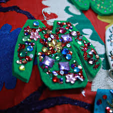 ugly christmas sweater ornaments aunt peaches