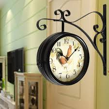 amazon com adeco round rooster double sided iron wall clock with