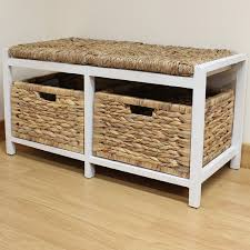 wicker storage bench for non formal seat desantislandscaping com