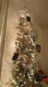 tree burlap ribbon white silver ornaments