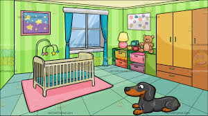 a happy dachshund with a bedroom of a baby background cartoon