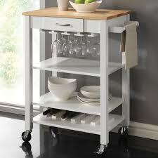 butcher block kitchen cart rolling wood storage utility cabinet