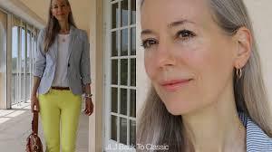 preppy for women over 50 preppy seersucker jacket skinny jeans ootd classic fashion style