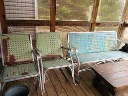 Old Metal Patio Furniture How To Restore Vintage Metal Gliders And Patio Furniture And Turn