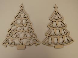 christmas tree laser cut wood ornaments by tomacraftplace on etsy