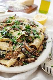 broken pasta with kale mushrooms and sausage bev cooks