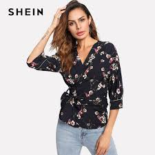 belted blouse shein v neck womens tops navy three quarter length sleeve