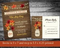 cheap fall wedding invitations fall wedding invitation rustic jar country by notedoccasions