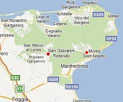 map of san angelo monte sant angelo in southern italy