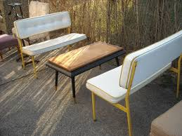 pair of mid century leather upholstered steel benches u2013 sold the