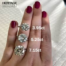 5 Carat Cushion Cut Engagement Rings Round Cut Diamond Engagement Ring Carat Size Guide On Hand 3