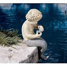 treasured pearl young male mermaid merman statue yard garden pond