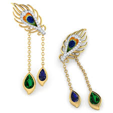 peacock design earrings peacock dual drop earrings jewellery india online caratlane