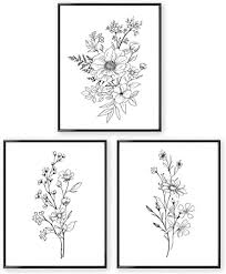 black and white prints for kitchen black and white prints botanical wall prints unframed 8x10 aesthetic poster for bedroom flower drawing 3 set farmhouse wall decor floral