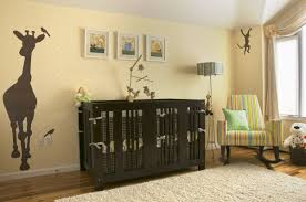 baby bedroom paint ideas crib model on dark brown floor striped