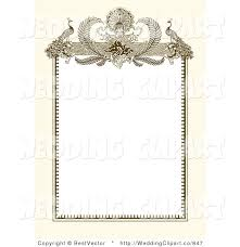 wedding invitation frame vector marriage clipart of a vintage ornate peacock beige and