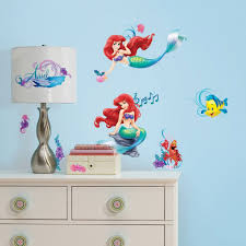 fun disney princess room decor ideas disney little mermaid 44pc wall sticker set