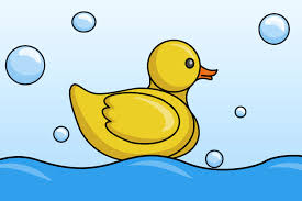 drawn duckling rubber duck pencil and in color drawn duckling