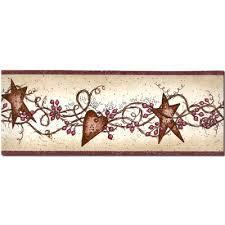 hearts and stars wallpaper border by chesapeake 65171b primitive