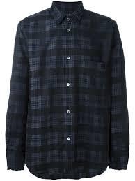 black virgin wool cotton blend plaid shirt from golden goose