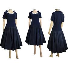 vintage 1940s dress 40s dress navy blue party dress daises
