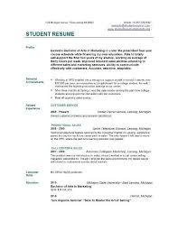 college student resume template free college student resume exles sles for students in 10