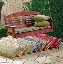 image of wooden porch swing cushions lowes garden treasures 3