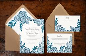 wedding invitations printing paul s floral block printed wedding invitations