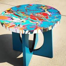 used ceramic pouring table fluid acrylic pour on wood table paint pinterest wood table