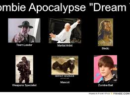 Survival Memes - i like how they used justin bieber as zombie bait so this is