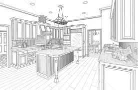 black custom kitchen design drawing on white stock photo andy