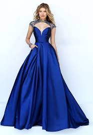 cut out open back royal blue satin beaded prom dress with collar