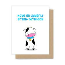 Cow Birthday Card Funny Cow Pun Happy Birthday Card Cute Handmade Greeting Card For