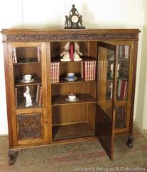 53 antique oak bookcase with glass doors library bookcase with