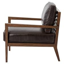 kyrie modern classic brown leather angular armchair kathy kuo home
